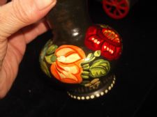 SMALL DENSE BLACK GLAZED ART POTTERY VASE WITH HANDPAINTED FLOWERS ON BODY 5""